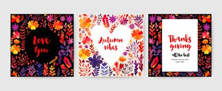 Autumn cards collection. Autumn leaves cards set