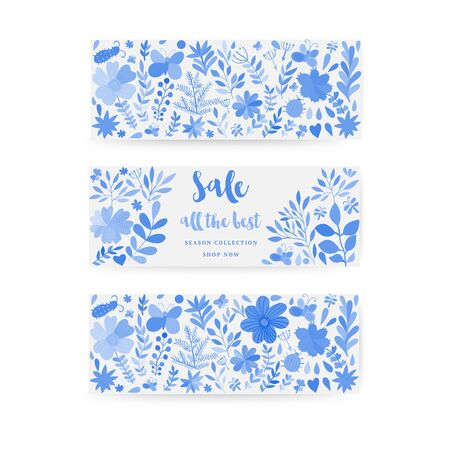 Hand drawn watercolor vector floral card. Ilustracja