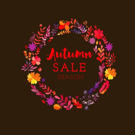 Autumn seasonal poster with autumn leaves. Ilustracja