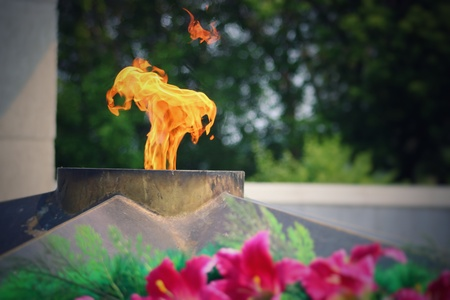 The Eternal Flame burns in memory of the millions of Soviet soldiers. Day of Remembrance Stock Photo