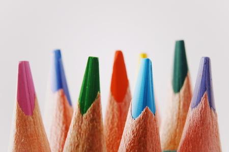 Close up macro shot of color pencil pile pencil nibs. Stock Photo