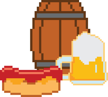 pixelart: Beer vector icons set in pixel-art style. Beer glass and beer barrel. Oktoberfest beer vector set. Beer drink, beer sign, beer pub alcohol. Beer logo Illustration