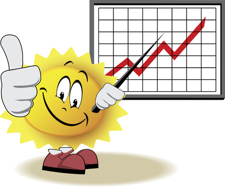 Live sun with face, arms and feet for your summer design. It shows growth graph on business poster. Vector illustration
