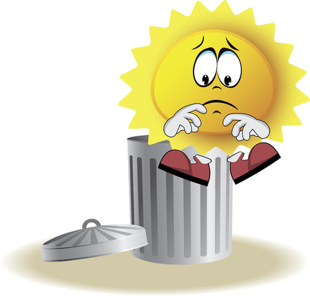 Live sad sun with face, arms and feet for your summer design. It sits on trash bin. Vector illustration