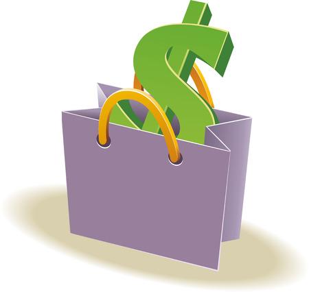 handles: Paper shopping bag with paper handles. Sign of dollar inside. Dollars inside. Vector illustration for your design Illustration