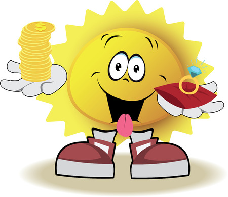 Live sun with face, arms and feet for your summer design. It holds on his hands the stack of coins and the marry ring. Vector illustration
