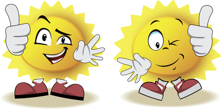 live feeling: Live sun with face, arms and feet for your summer design. It shows a thumbs-up. Vector illustration