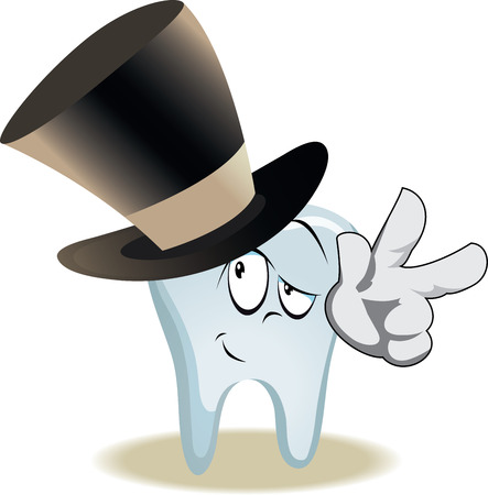 Live tooth with face, arms and eyes for your medical and health design. It in high hat and shows Victory. Vector illustration
