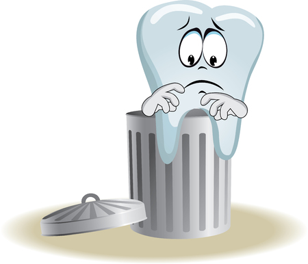 live feeling: Live tooth with face, arms and eyes for your medical and health design. It sits on trash bin. Vector illustration