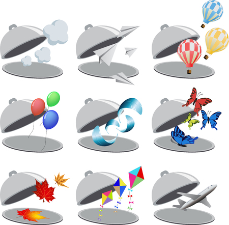 big leafs: Big set of flying objects in restaurant cloche. Clouds, modern aircraft, air snakes, maple leafs, air balloon, kites and butterflies. For business icons or other design. Vector illustration Illustration