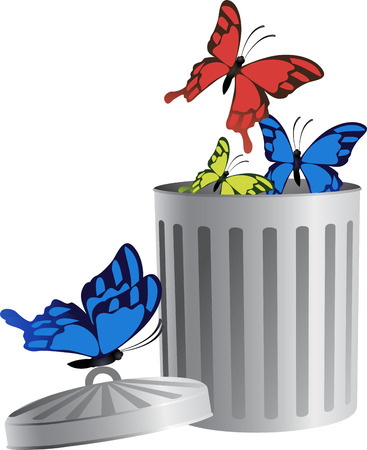 yellow butterfly: Blue, red and yellow butterfly fly from trash bin. For business icons or other design.