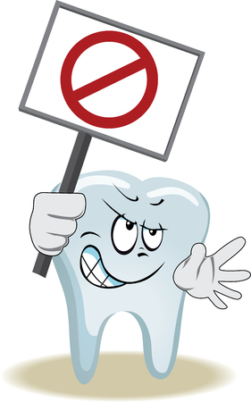 face  illustration: Live tooth with face, arms and eyes for your medical and health design.  It keeps a blank with sign of protest.