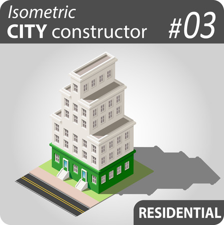 penthouse: Set of isolated isometric private buildings. Illustration of urban and rural houses and dwellings. For your infographic, map or business design. Detailed clip art with easy editable colors. Illustration