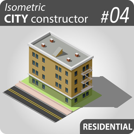 penthouse: Isometric residential building. Illustration of urban and rural houses and dwellings. For your infographic, map or business design. Detailed clip art with easy editable colors.