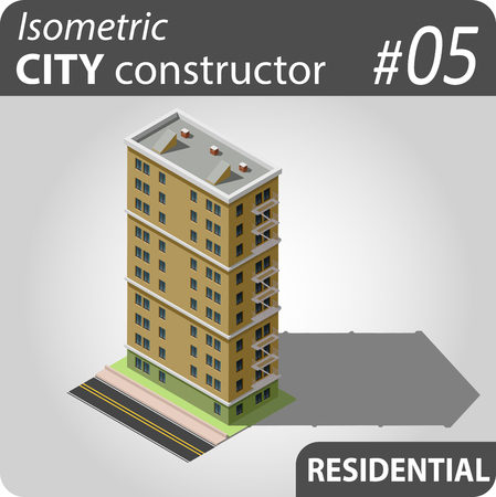 Isometric residential building. Illustration of urban and rural houses and dwellings. For your infographic, map or business design. Detailed  clip art with easy editable colors.