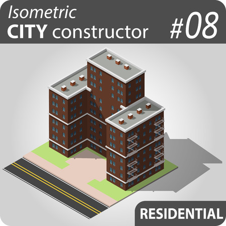 penthouse: Isometric residential building. Illustration of urban and rural houses and dwellings. For your infographic, city, map or business design. Detailed vector clip art with easy editable colors.