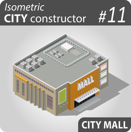 penthouse: Isometric store ore mall building. Illustration of urban and rural houses and dwellings. For your infographic, map or business design. Detailed vector clip art with easy editable colors.
