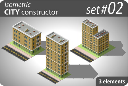 Set of isometric residential buildings. Illustration of urban and rural houses and dwellings. For your infographic, map, city or business design. Detailed vector clip art with easy editable colors. Illustration