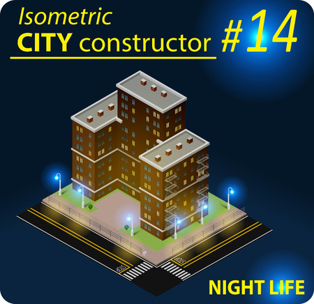 Isometric residential building in night light