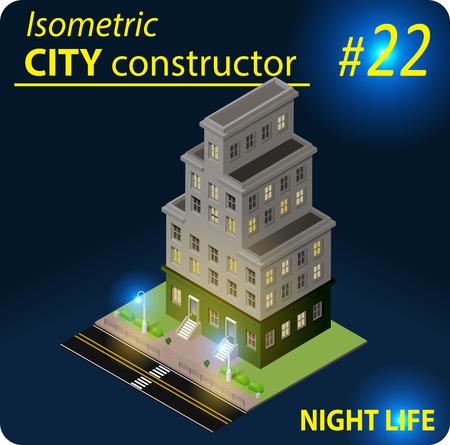 Modern isometric building in night light
