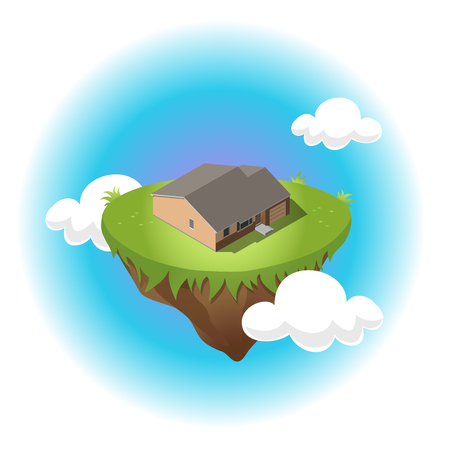 Isometric residential building on flying island in sky with white clouds. Illustration of houses in simple design. For infographic, city, map, business design. Detailed vector art with editable colors