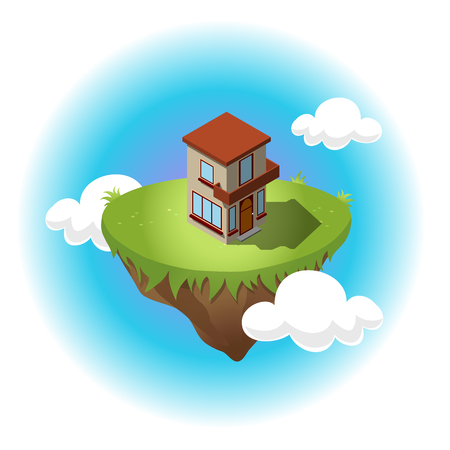 residential construction: Isometric residential building on flying island in sky with white clouds. Illustration of houses in simple design. For infographic, city, map, business design. Detailed vector art with editable colors