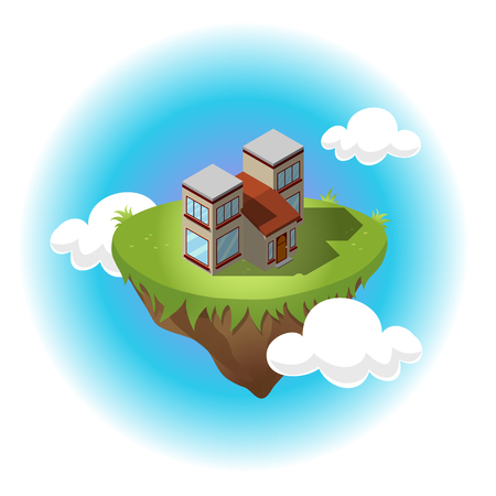 condominium: Isometric residential building on flying island in sky with white clouds. Illustration of houses in simple design. For infographic, city, map, business design. Detailed vector art with editable colors
