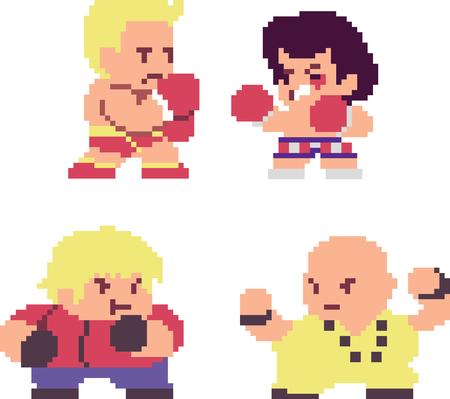 Set van pixel karakters