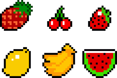 Set of food icons in pixel-art style. Fruits and vegetables. Retro 8-bit or 16-bit. For your games, retro, business design. Detailed vector clip art with easy editable colors