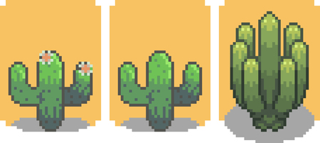 Set of cactus in pixel style
