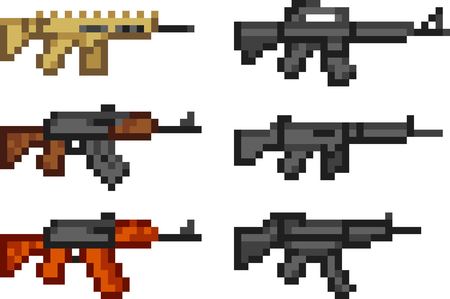 Set of weapon icons in pixel style