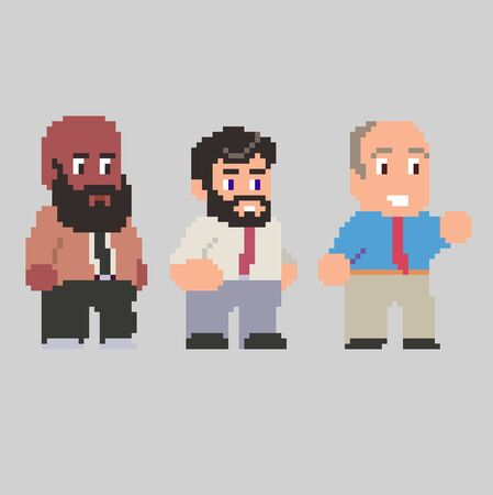Set of game characters in perfect pixel art style. Men or boys. Retro 8-bit or 16-bit. For your games, retro, business design. Detailed vector clip art with easy editable colors