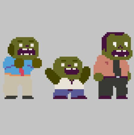 Set of cool pixel characters