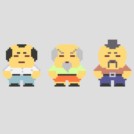 Set of pixel characters in art style Çizim