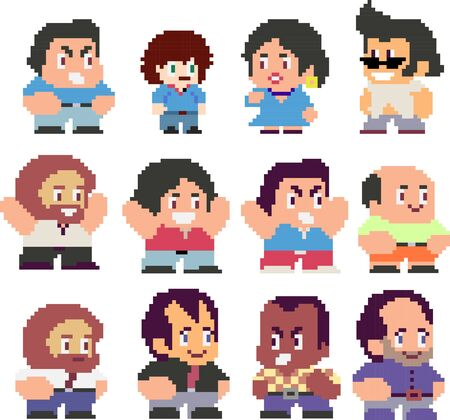 Set of funny pixel characters Çizim