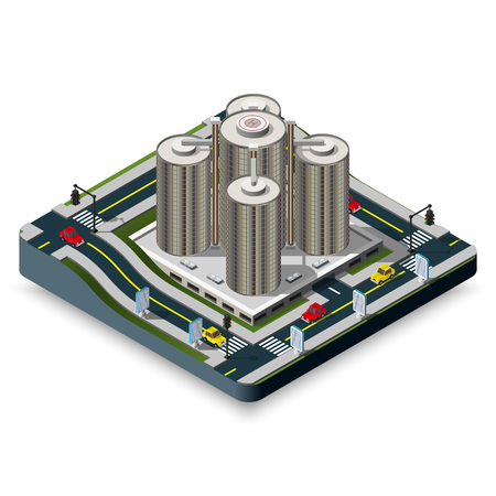 Modern illustration of an Isometric Hotel Building in LA. 3d building icon.