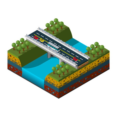 Illustration of an isometric bridge over the river. Highway icon.