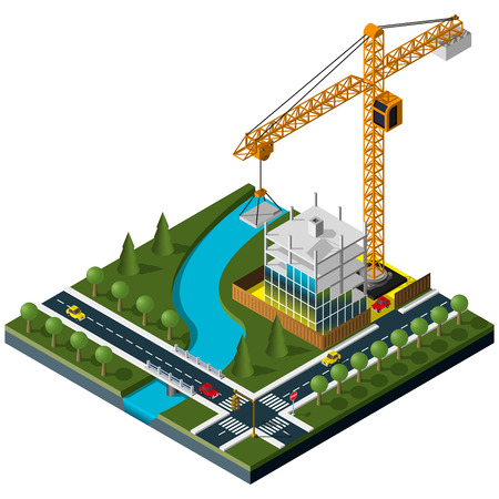 Modern isometric industrial crane. Industrial crane icon. Isometric construction site.