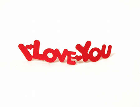 I Love you isolated on white with hearts between words