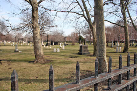 A view looking from the corner at Erie Street cemetery in Cleveland Ohio