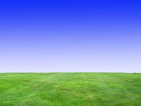 Background of Blue Sky and Green Grass v1 Stock Photo