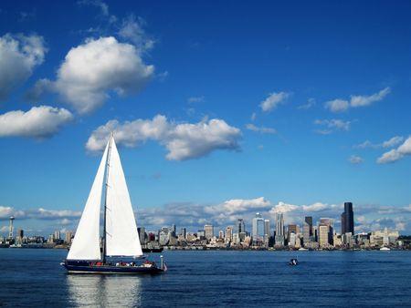Seattle Skyline con un velero