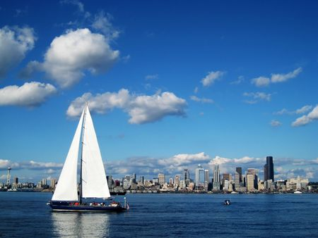 Seattle Skyline with a Sailboat