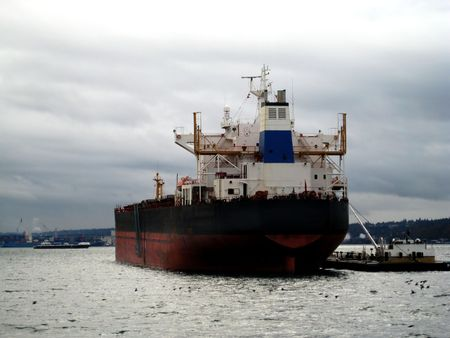 Tanker Cargo Ship in the harbor of Puget Sound at Seattle Washingon. Stock Photo