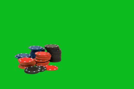 simulate: Poker Chips Isolated on Green Background was created to simulate chips on a poker or blackjack table.