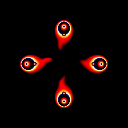 appears: Eyeball Shooting Stars is an abstract fractal that appears to be bullseye colored eyeballs shooting with flames for tails on a black background. Stock Photo