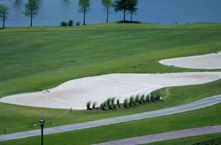 Golf Course Sand and Water Traps are a common sight in Florida in the United States.