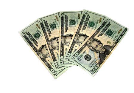 moola: Five Twenty US Dollar isolated on a white background.