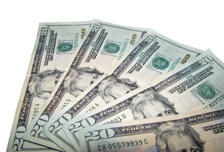 moola: Isolated Twenty Dollar Bills on White Background.