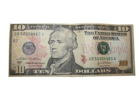 alexander hamilton: Stati Uniti valuta dieci Dollar Bill su sfondo bianco. Archivio Fotografico